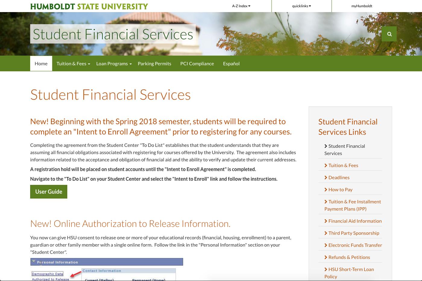 Student Financial Services Screenshot