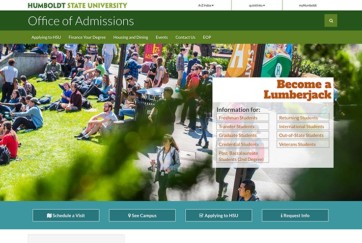 Admissions Website Screenshot