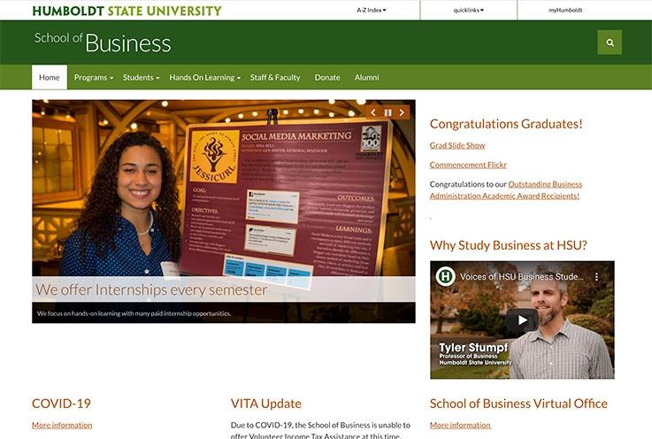 School of Business website screenshot