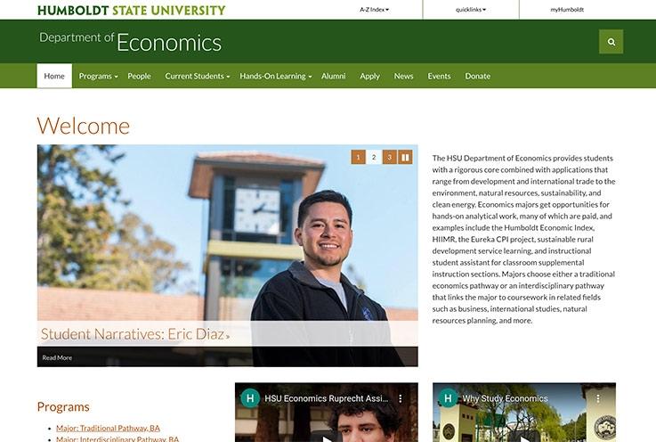Department of Economics website screenshot