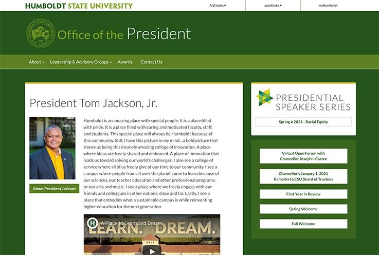 Office of the President website screenshot