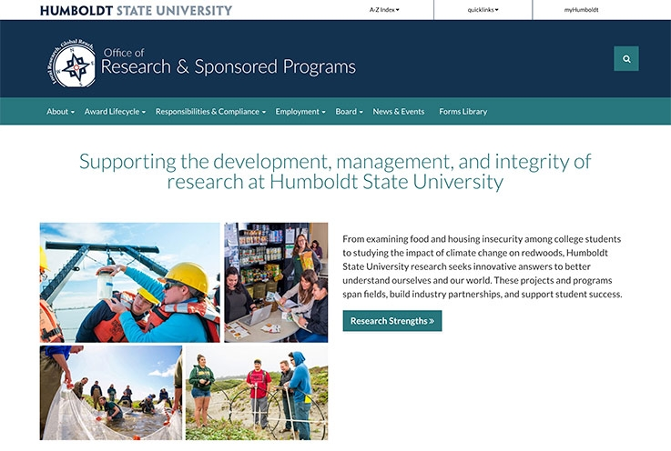 home page of Office of Research & Sponsored Programs website
