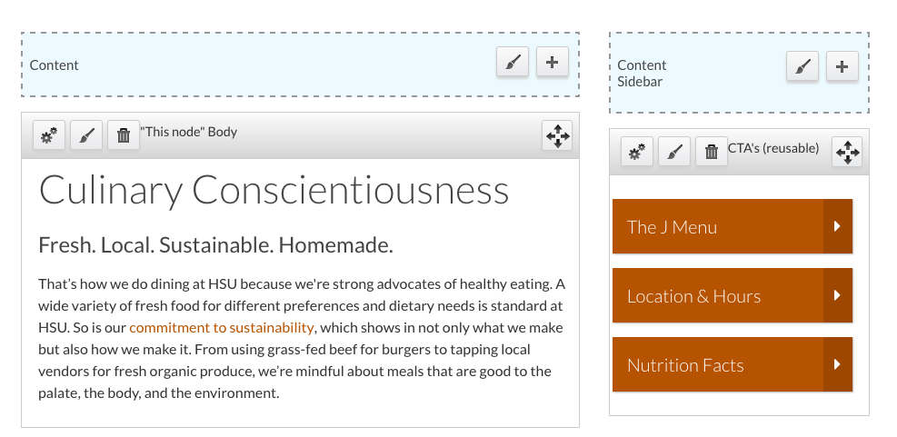 Layout view of the website with blue region headers and grey boxes with content