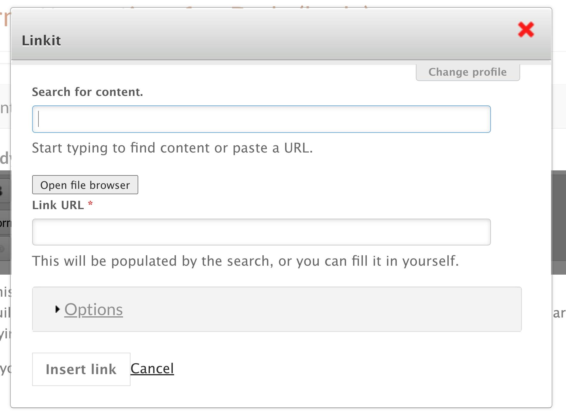 link input screen